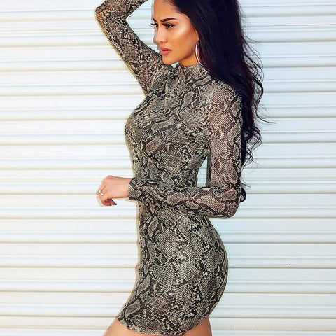 Long Sleeve Sexy Serpentine Printed Dress