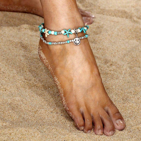 Bohemian multilayer dolphin cross pendant beads anklet