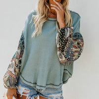 Boho Printed Long Bell Sleeve O-Neck Loose Streetwear