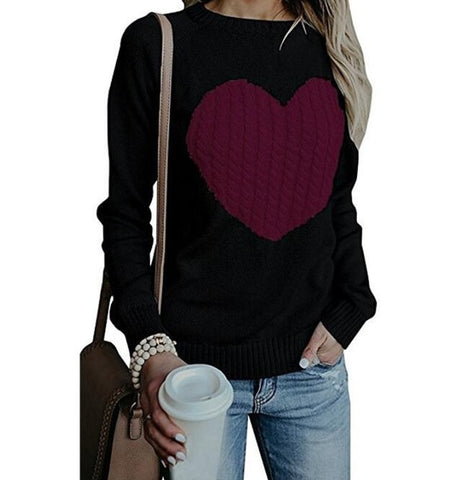Pullovers Long Sleeve Heart Knitted Sweater