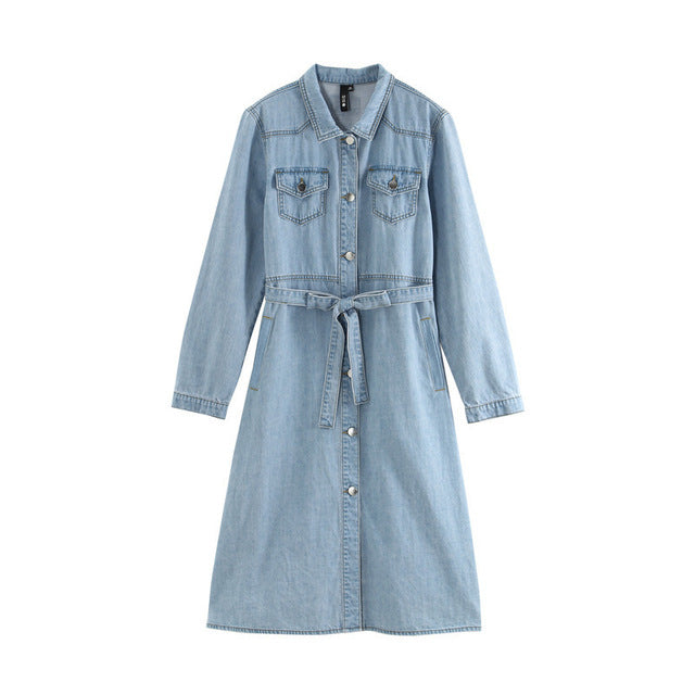 Denim Single Breasted Button Turn Down Collar  Dress