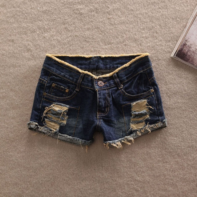 Casual pockets Hole Burr jeans shorts
