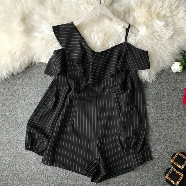 Ruffle Striped Off Shoulder Rompers