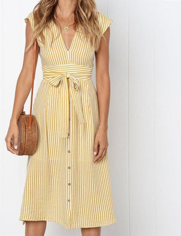 Vintage Stripe Print Midi Dress