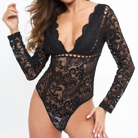 Lace Hollow Out V-back Bodysuits