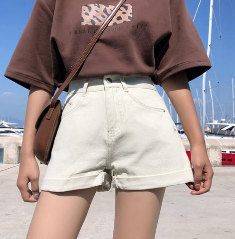 Wide Leg Rolled-up Shorts Denim