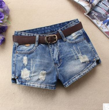 Middle Waist Hole Shorts Denim