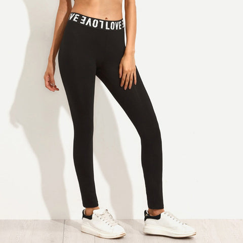 sexy black letter Elastic Trouser Workout Legging