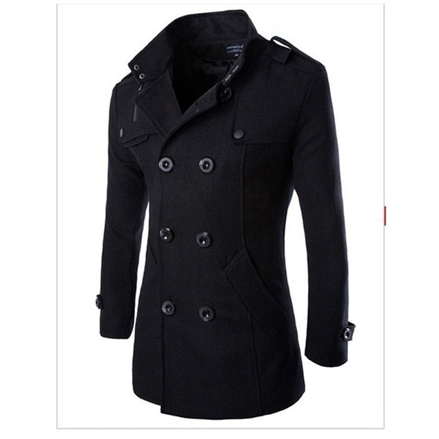 Woolen Coat Double Breasted Outerwear Coat