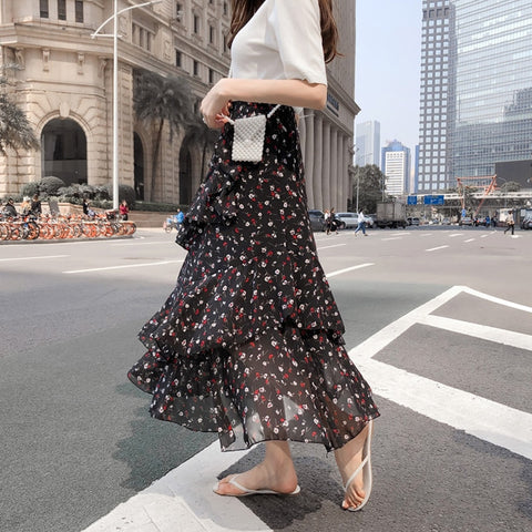 Bohemian Ruffles Layer Flare High Waist Skirt