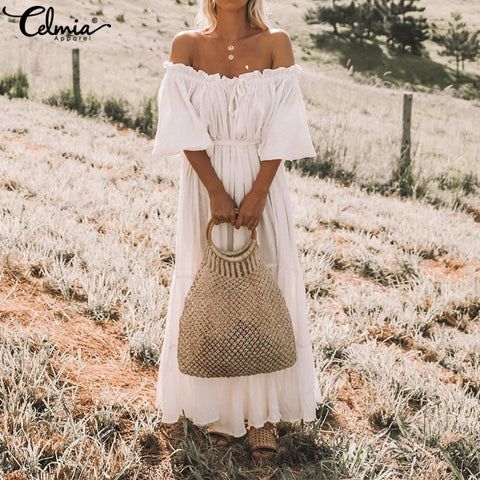 Ruffed Oversized Long Off Shoulder Dress