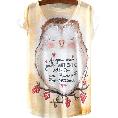 Round Collar Ink Painting Pattern T-shirts