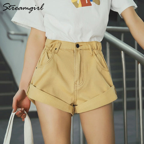 Khaki High Waist Wide leg Short Denim