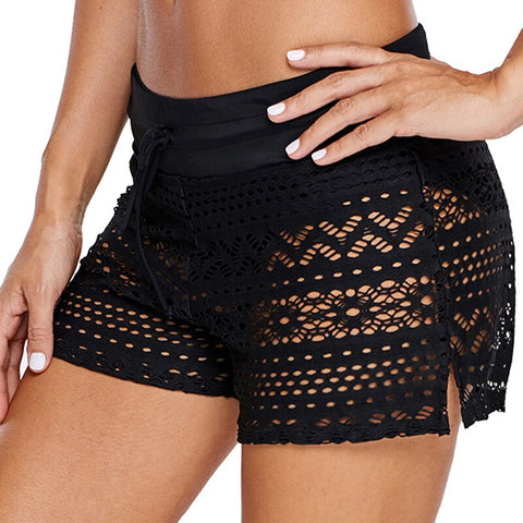 Lace Hollow Out Solid Color High Waist Shorts