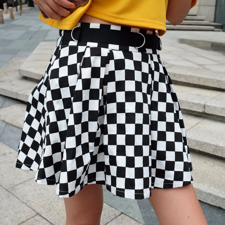 Pleated Checkerboard Skirts