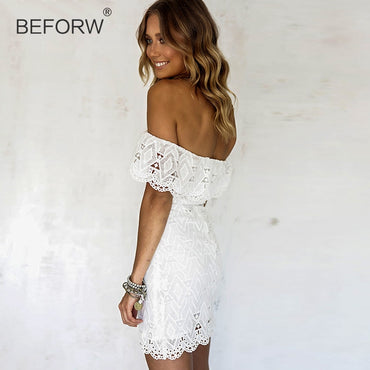 Lace White Elegant Off Shoulder Bodycon Dress