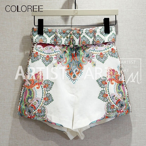 Floral Print Slim Boho Party Vacation Shorts