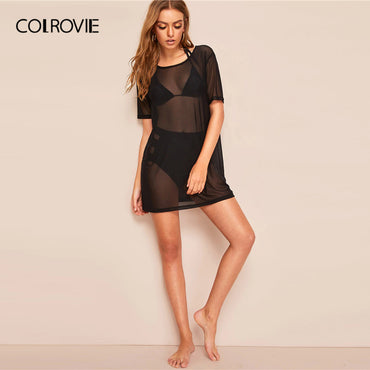 Black Sheer Mesh Cover Up Sexy Tops