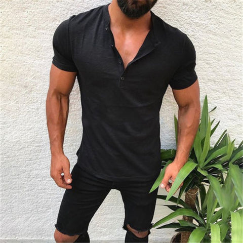 Slim Fit V Neck Short Sleeve Muscle Tee T-shirt
