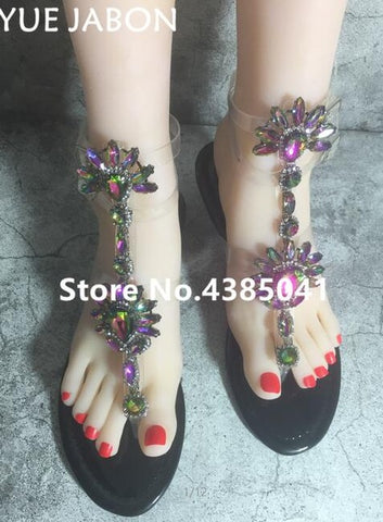 Rhinestones Chains Flat Sandals