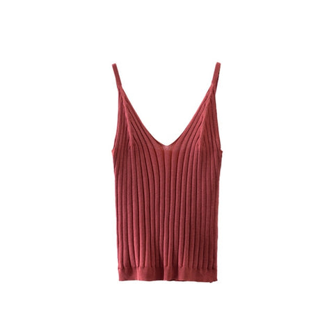 Sexy Knitted Crop Tank Top & Camis