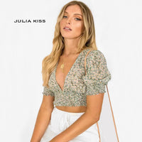 Deep V Neck Floral Print Shirred Crop Top