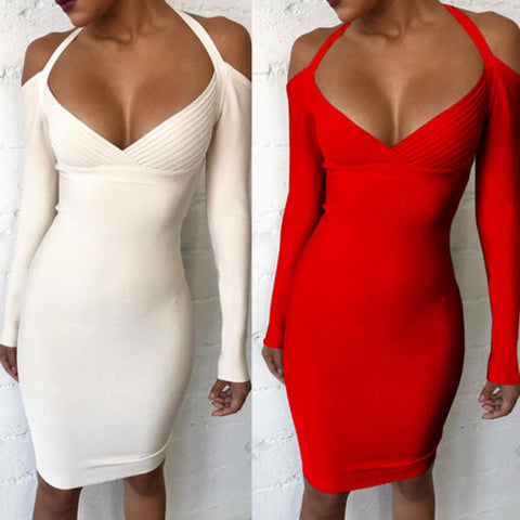 Long Sleeve Wrap V Neck Knitted Dresses