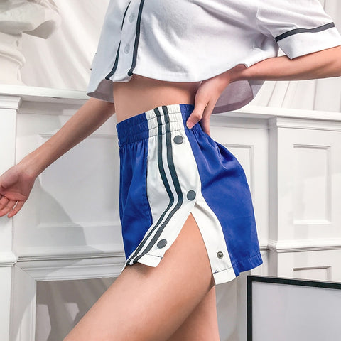 Casual Button Split Side Shorts