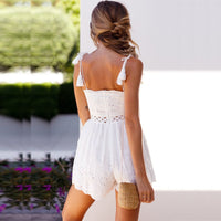 Tied Strap Embroidery Sexy Rompers