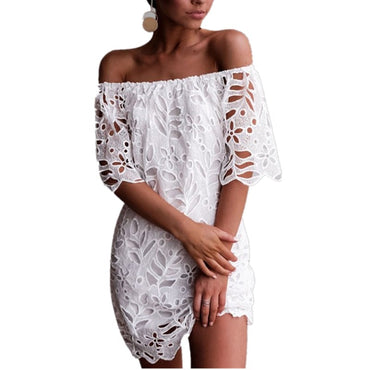 White Sexy Off Shoulder Lace Hollow Out Mini Dress
