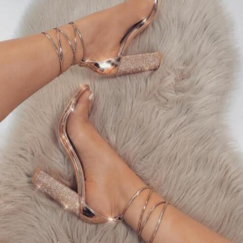 Bandage Rhinestone Ankle Strap Pumps Super High Heels