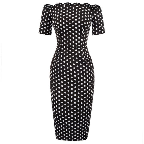 Polka dot Vintage Short Sleeve dresses