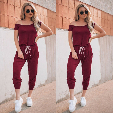 Short Sleeve Off Shoulder High Waist Sexy Jumpsuit