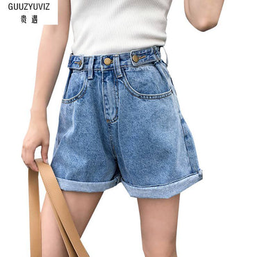 Casual Button Cotton Washed High Waist Short