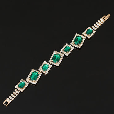 Shiny Green Rhinestone Wedding Bracelets & Bangles
