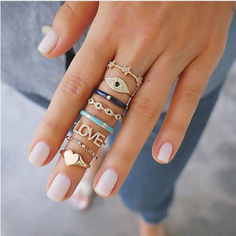 Punk Crystal Finger Ring Set Accessories