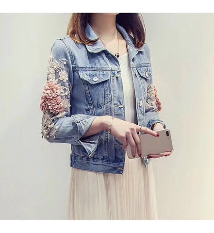 Embroidery Three Dimensional Flowers Pearl Bead Denim Jacket