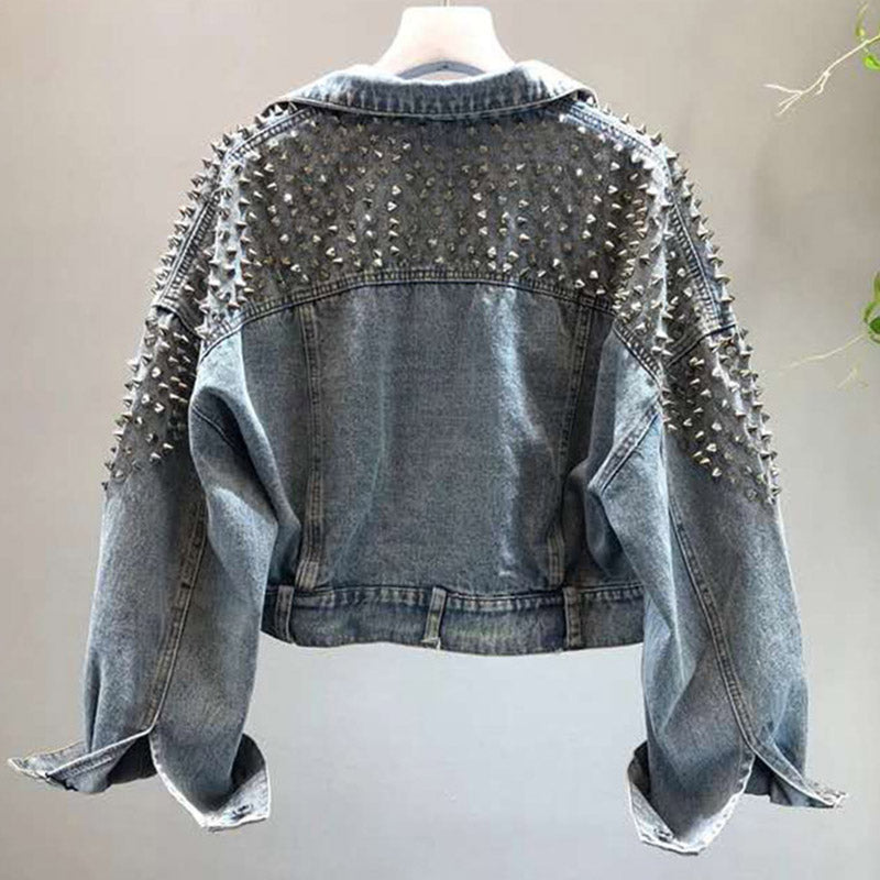 bat sleeve heavy work rivet short washed denim jacket