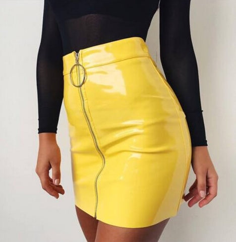 PU Leather Sexy Pencil Zipper Skirts