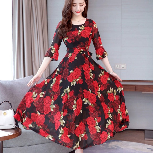 Swing O-neck Trumpet Sleeves Floral Dress