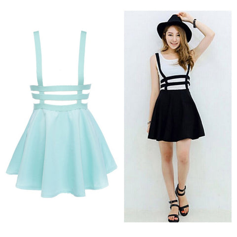 Retro Hollow Mini Skater High Waist Skirt