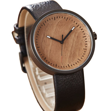Leather Strap modern Stylish Wooden Clock