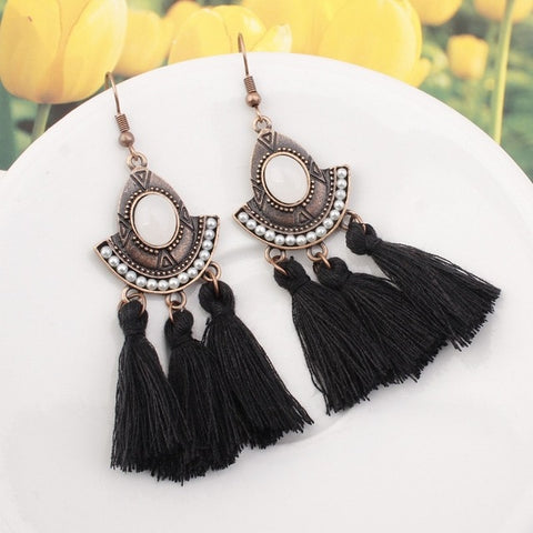 Long Fringe Drop Earrings