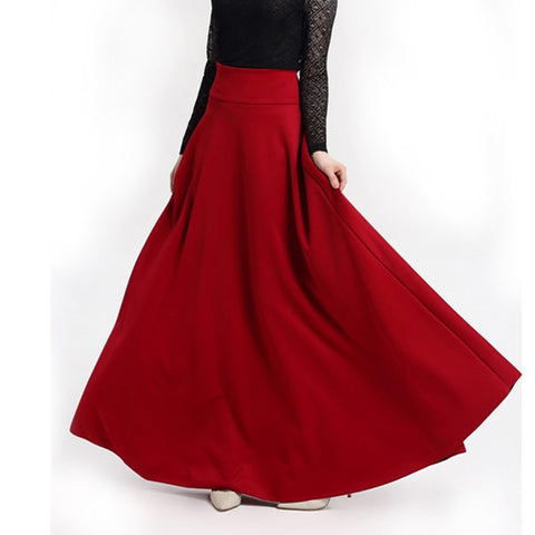 Long Big A-line Solid Color Skirt