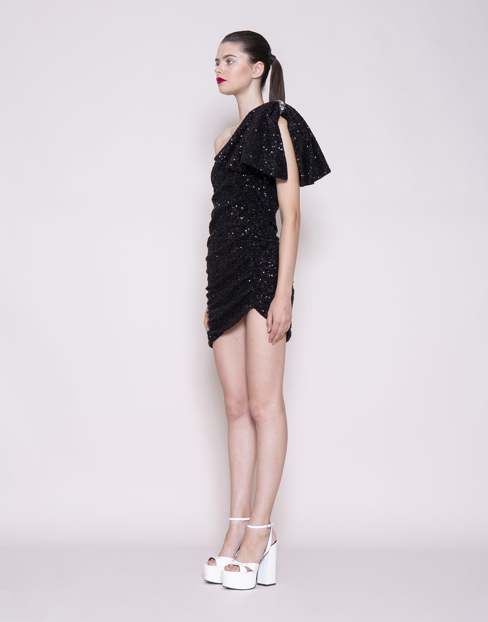 Asymmetric sequins bow dress