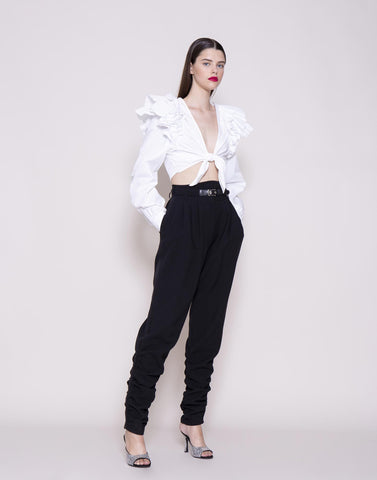 Black belted trousers