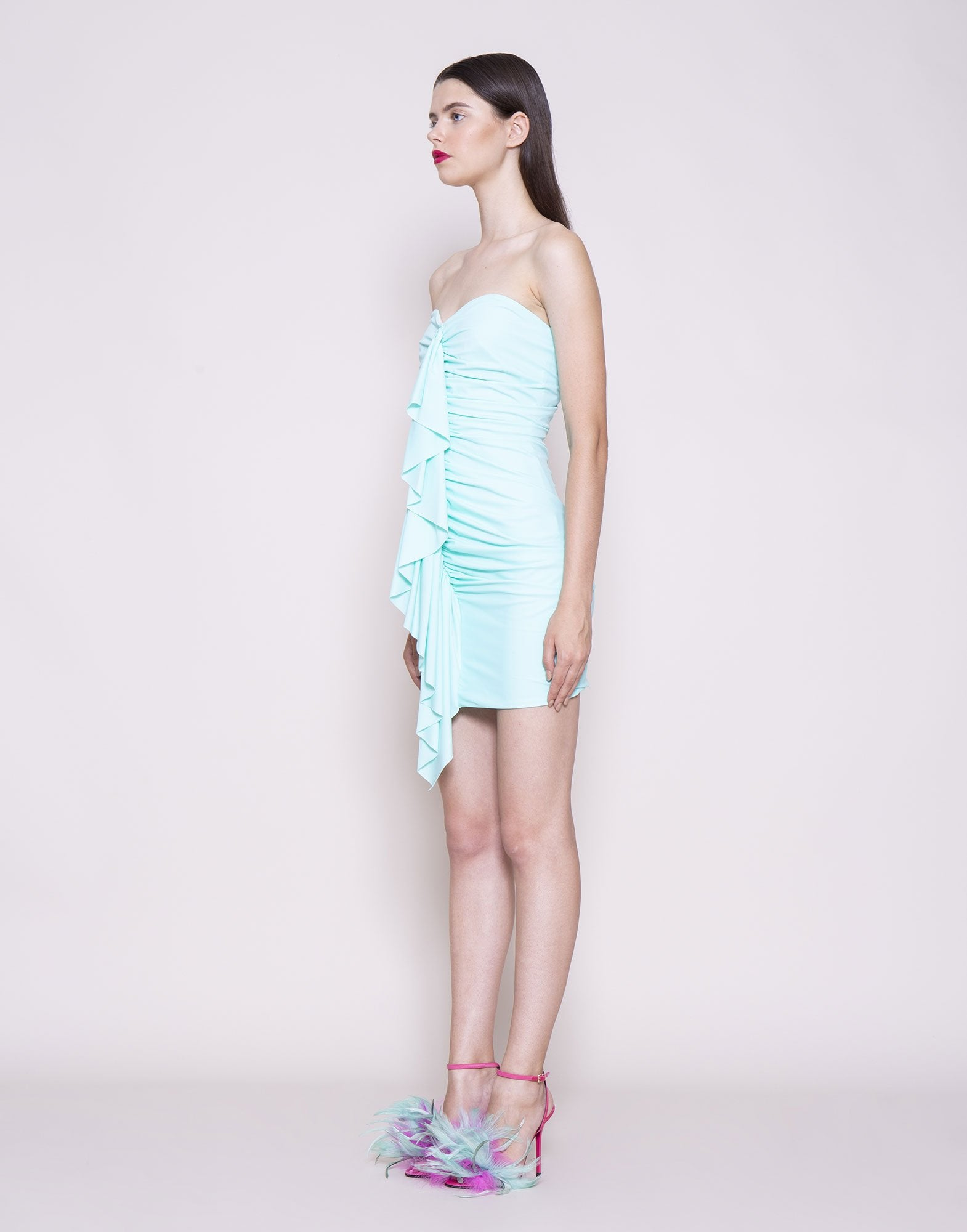 Sky blue ruffled mini dress | NEW ARRIVALS