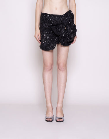 Sequins mini skirt with bow