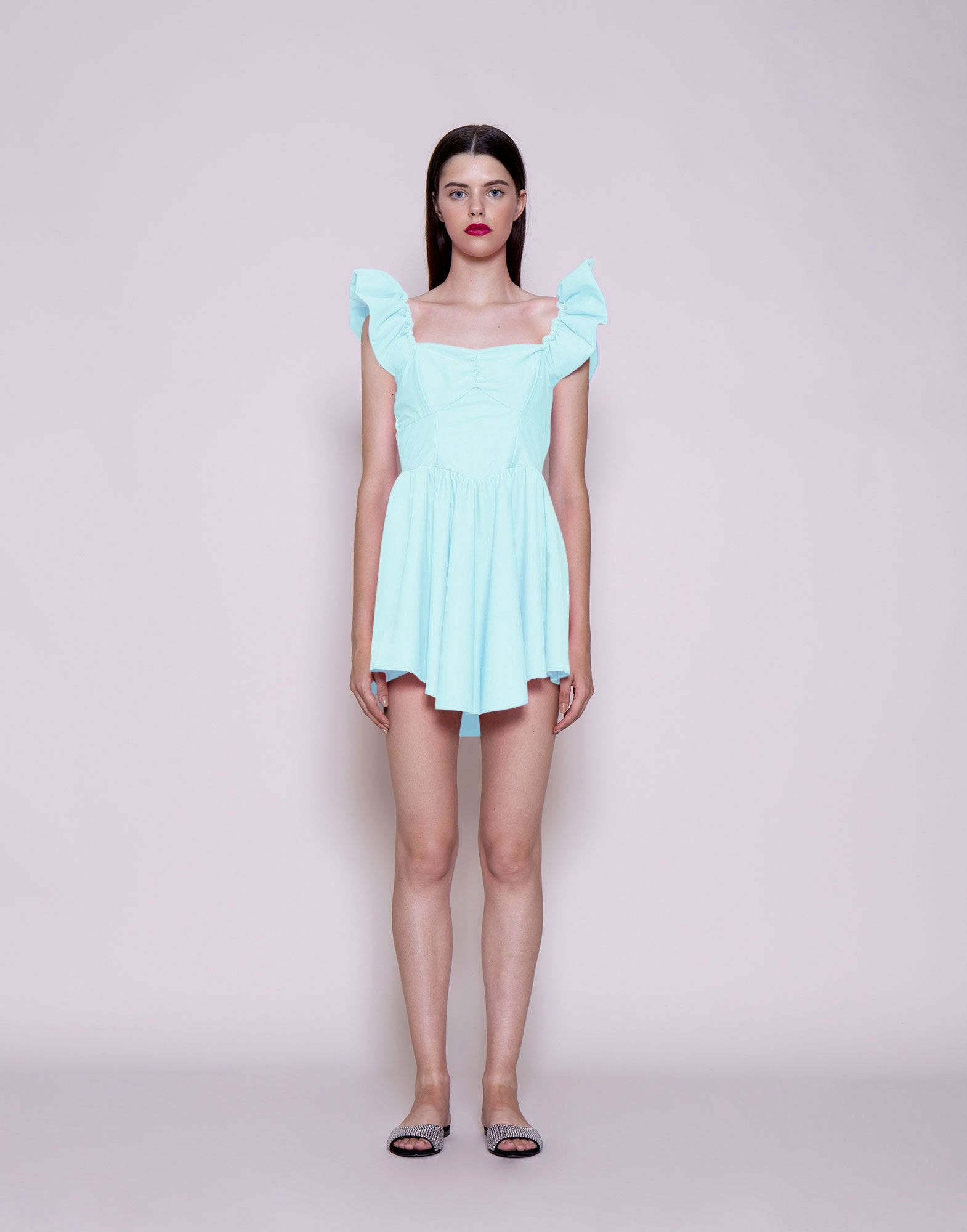 Sky blue curled straps mini dress | NEW ARRIVALS