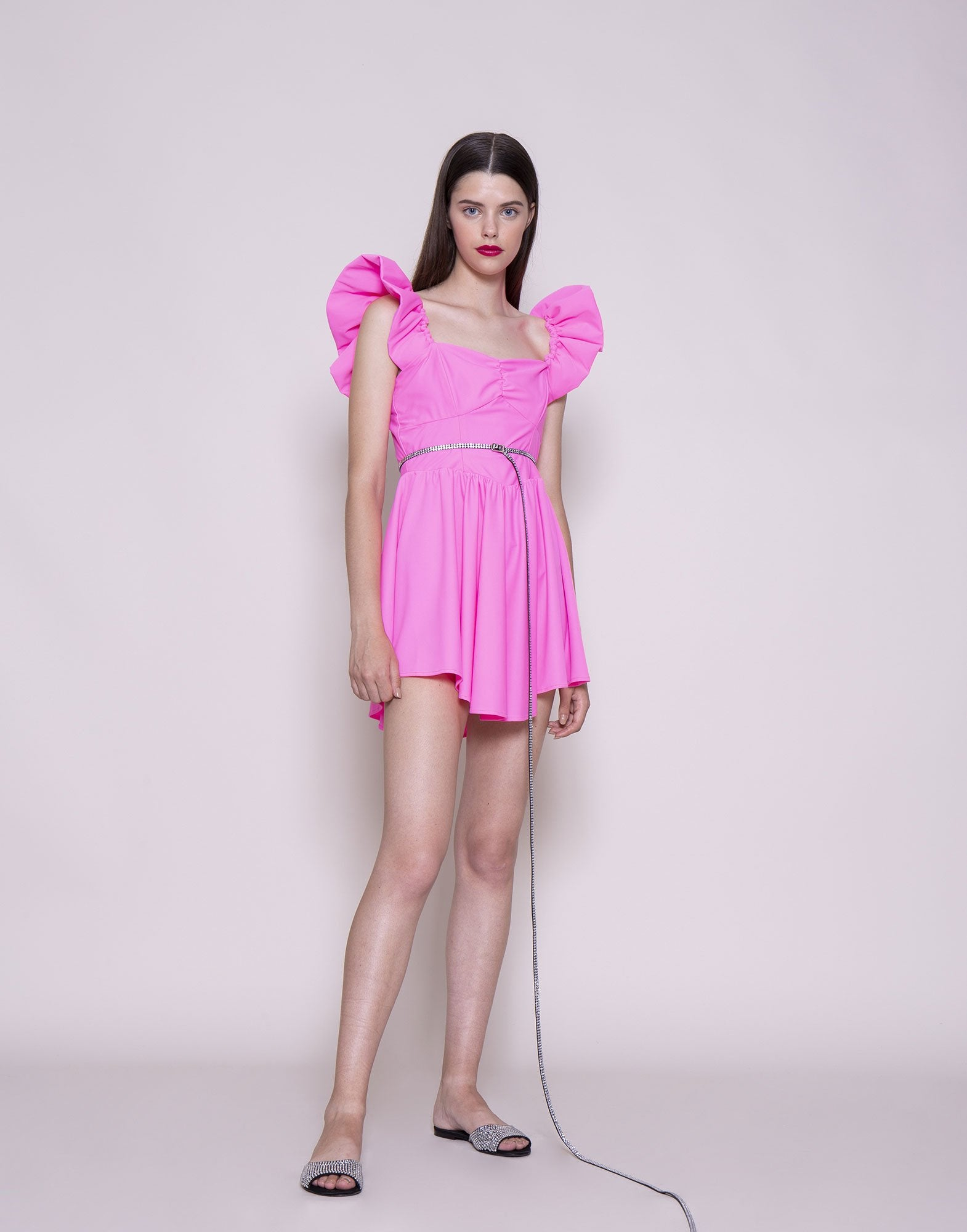 AMEN_PINK_CURLED_STRAPS_MINI_DRESS_AMS20455